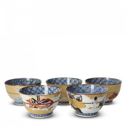 Coffret 5 Tasses À Thé Japonaises En Porcelaine Genji-Monogatari