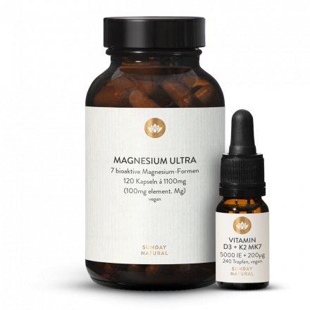 Complexe De Magnésium Et Vitamines D3 5000 Ui + K2 Mk7 200µg All-Trans Vegan