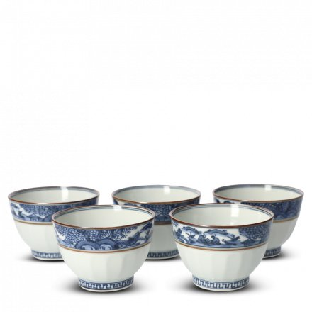 Coffret 5 Tasses À Thé Japonaises En Porcelaine Obisansui