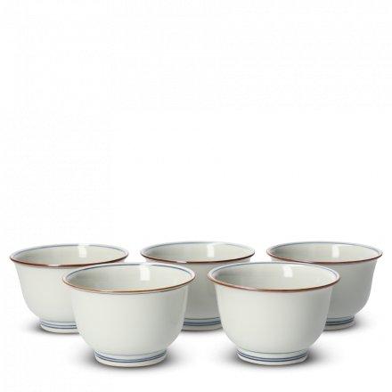 Coffret 5 Tasses À Thé Japonaises En Porcelaine Somekamon