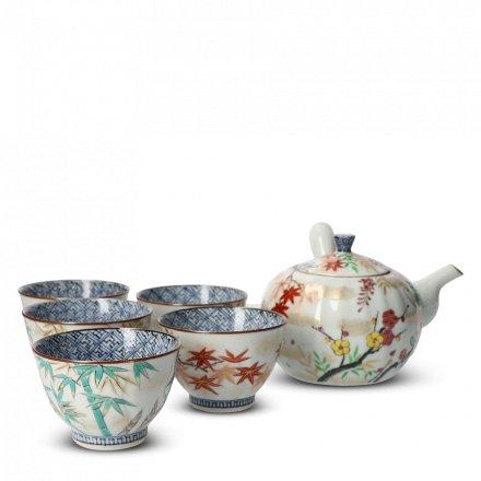 Coffret 5 Tasses À Thé Japonaises En Porcelaine Irodorikachō