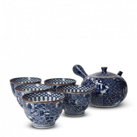 Coffret 5 Tasses À Thé Japonaises En Porcelaine Kikuborishonzui