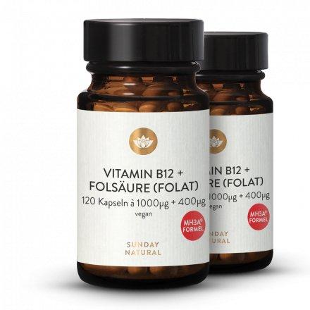 Vitamine B12 MHA 1000µg + Acide Folique L-Méthylfolate 400µg