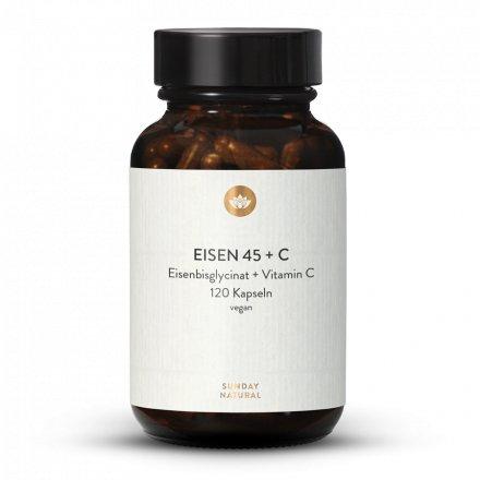 Chélate De Fer 45mg, Bisglycinate De Fer + Vitamine C Naturelle