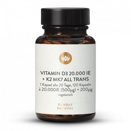 Vitamine D3 20 000 UI + K2 Mk7 200 µg