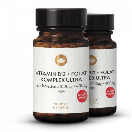 Vitamine B12 Et Acide Folique MH3A® 1000µg + Complexe De Folate 400µg