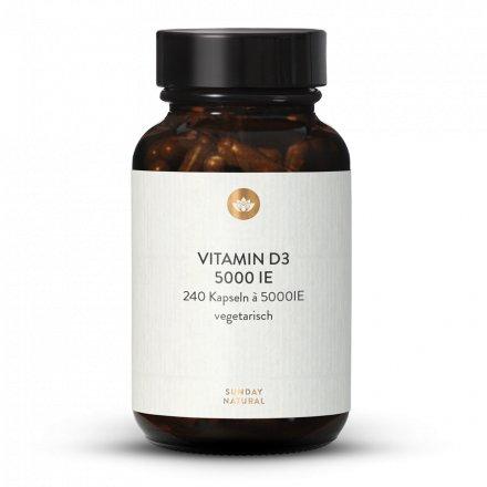 Vitamine D3  5000 Ui Dosage Élevé 240 Gélules
