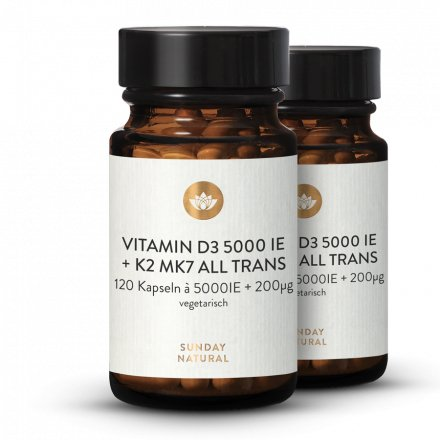 Vitamine D3 + K2 MK7 5000 Ui + 200µg All-Trans 120 Gélules