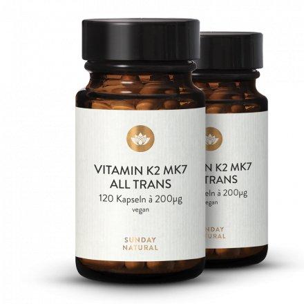 Vitamine K2 Mk7 200 µg Tout-Trans Vegan 120 Gélules À Dosage Élevé