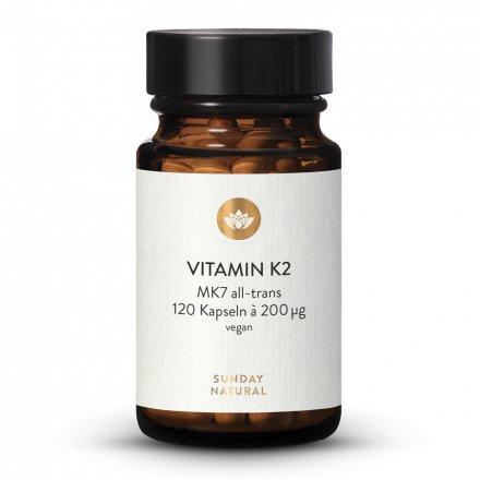 Vitamine K2 Mk7  200 µg Tout-Trans Vegan 120 Gélules
