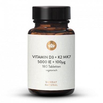 Vitamine D3 5000 Ui + 100 µg K2 Mk7 180 Comprimés